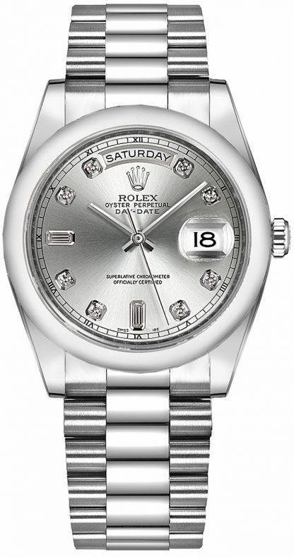 replique Montre Rolex Day-Date 36 Silver Diamond Platinum 118206