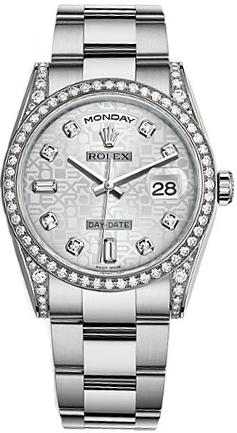 replique Montre Rolex Day-Date 36 Silver Jubilee Diamond Gold 118389