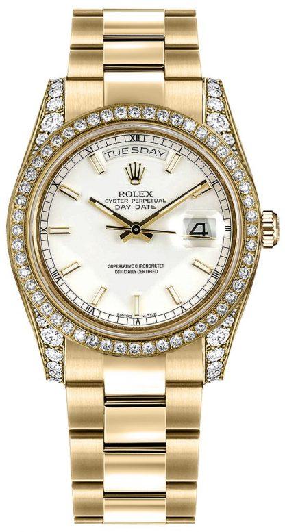 replique Montre Rolex Day-Date 36 cadran blanc en or massif 118388