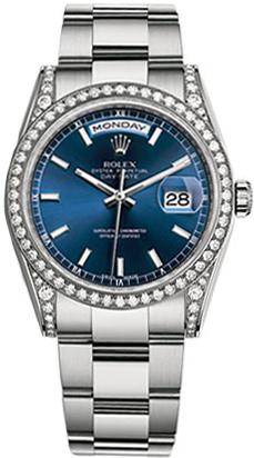 replique Montre Rolex Day-Date 36 cadran bleu en or blanc 118389