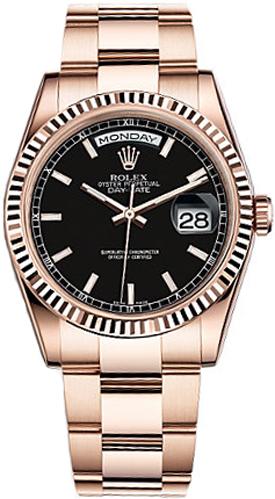 replique Montre Rolex Day-Date 36 cadran noir en or 118235