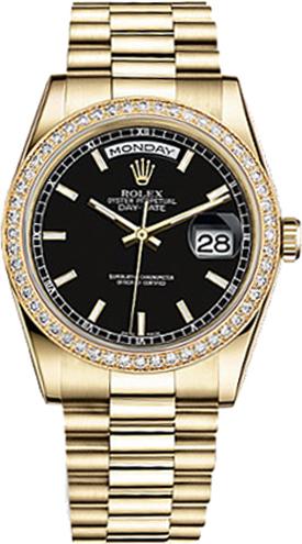 replique Montre Rolex Day-Date 36 cadran noir en or 118348