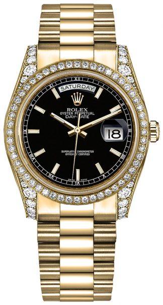 replique Montre Rolex Day-Date 36 cadran noir en or 118388