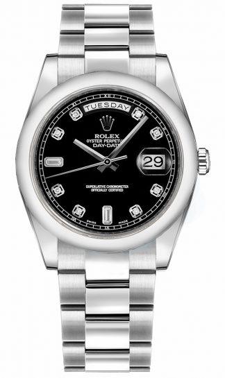 replique Montre Rolex Day-Date 36 cadran noir en or blanc 118209