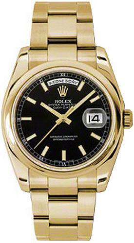 replique Montre Rolex Day-Date 36 cadran noir en or massif 118208