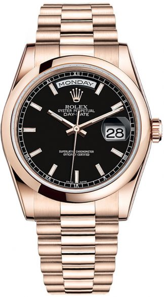 replique Montre Rolex Day-Date 36 cadran noir en or rose 118205