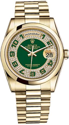 replique Montre Rolex Day-Date 36 cadran vert en or 118208