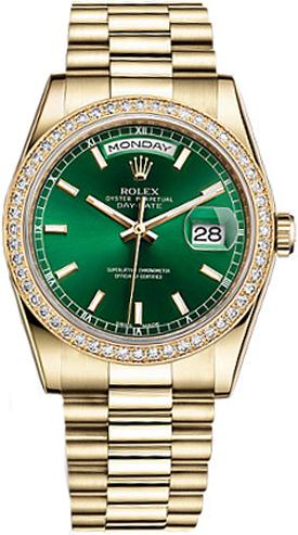 replique Montre Rolex Day-Date 36 cadran vert en or 118348