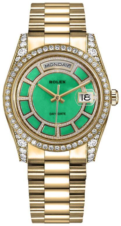 replique Montre Rolex Day-Date 36 cadran vert en or jaune 118388