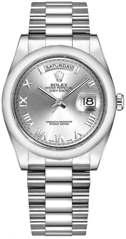 replique Montre Rolex Day-Date 36 en argent avec chiffres romains en or 118209