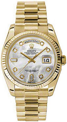 replique Montre Rolex Day-Date 36 en nacre et or jaune 118238