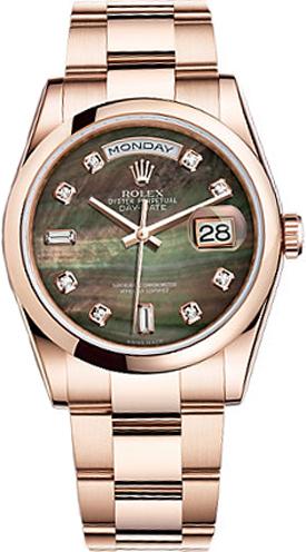 replique Montre Rolex Day-Date 36 en nacre noire 118205
