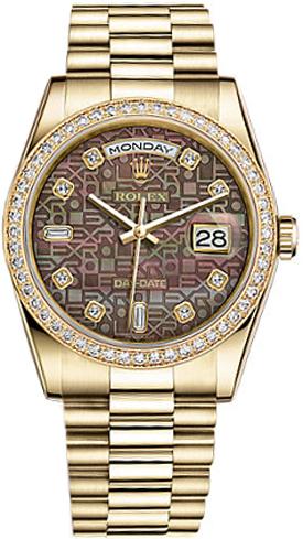 replique Montre Rolex Day-Date 36 en nacre noire avec diamants 118348