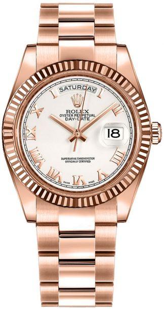 replique Montre Rolex Day-Date 36 en or blanc à chiffres romains 118235