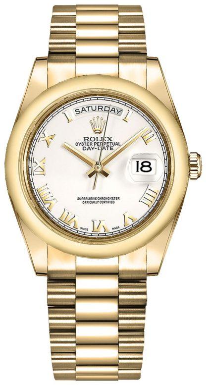 replique Montre Rolex Day-Date 36 en or blanc avec chiffres romains blancs 118208