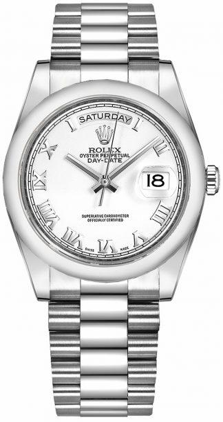 replique Montre Rolex Day-Date 36 en or blanc avec chiffres romains blancs 118209