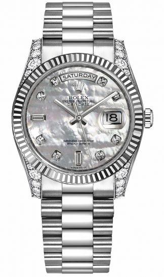 replique Montre Rolex Day-Date 36 en or blanc avec diamants 118339