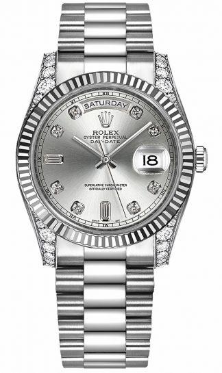 replique Montre Rolex Day-Date 36 en or blanc massif 18 carats 118339