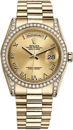replique Montre Rolex Day-Date 36 en or jaune 118388