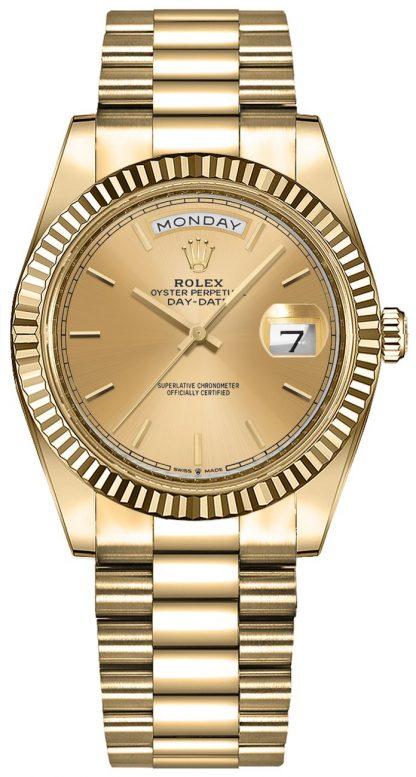 replique Montre Rolex Day-Date 36 en or jaune 18 carats pour femme 128238