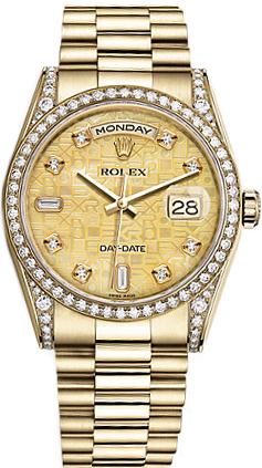 replique Montre Rolex Day-Date 36 en or jaune massif 18 carats 118388
