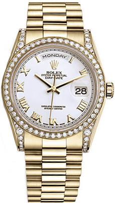 replique Montre Rolex Day-Date 36 en or massif blanc avec chiffres romains 118388
