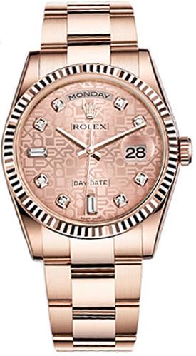 replique Montre Rolex Day-Date 36 en or rose avec diamants 118235