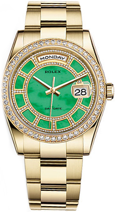 replique Montre Rolex Day-Date 36 en or vert diamant 118348