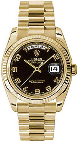 replique Montre Rolex Day-Date 36 lunette cannelée en or 118238