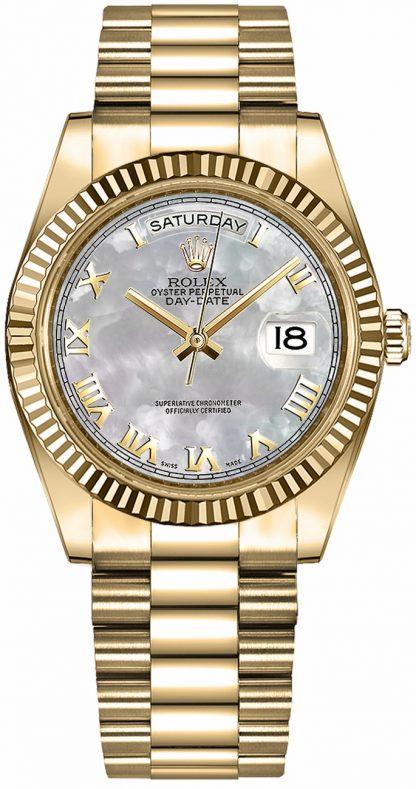 replique Montre Rolex Day-Date 36 nacre romaine en or 118238