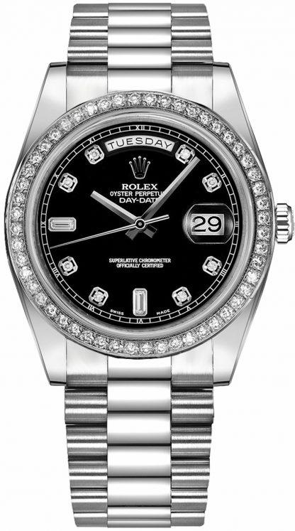 replique Montre Rolex Day-Date 41 Black Diamond en or blanc 218349