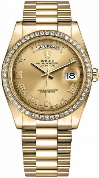 replique Montre Rolex Day-Date 41 Champagne à chiffres romains en or 218348