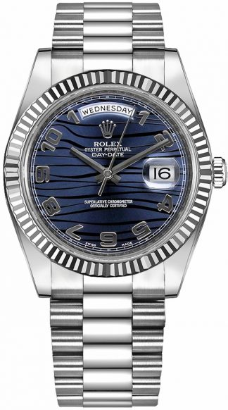 replique Montre Rolex Day-Date 41 Wave à cadran bleu 218239