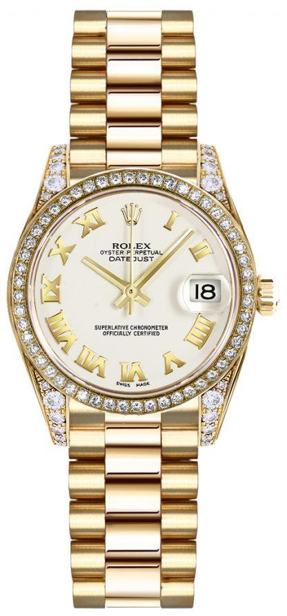 replique Montre Rolex Lady-Datejust 26 à chiffres romains blancs 179158