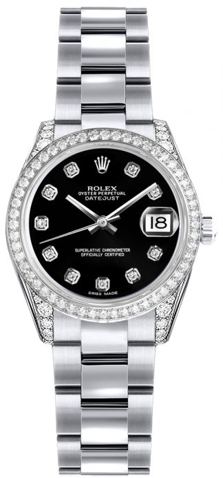 replique Montre Rolex Lady-Datejust 26 Black Diamond Dial 179159