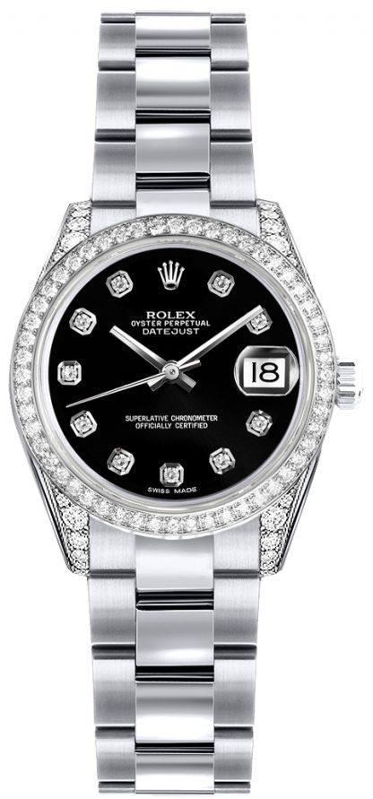replique Montre Rolex Lady-Datejust 26 Black Diamond Dial 179159