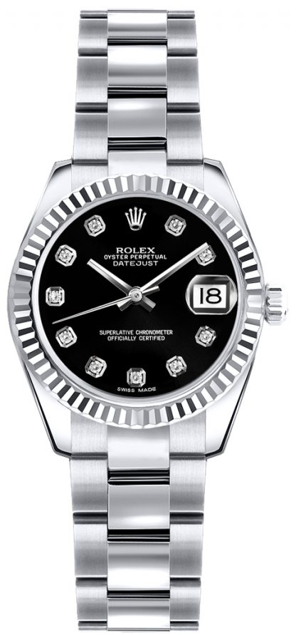 replique Montre Rolex Lady-Datejust 26 Black Diamond Dial 179179