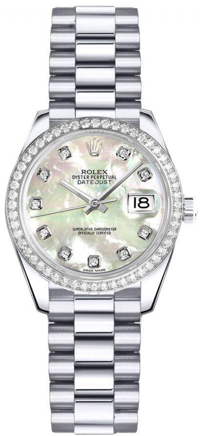 replique Montre Rolex Lady-Datejust 26 Platine 179136