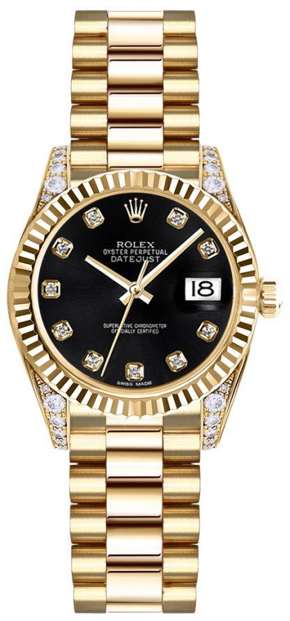 replique Montre Rolex Lady-Datejust 26 cadran noir en or 179238