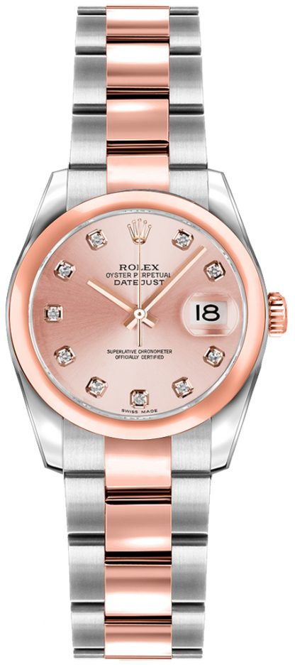 replique Montre Rolex Lady-Datejust 26 diamant rose or rose et acier 179161