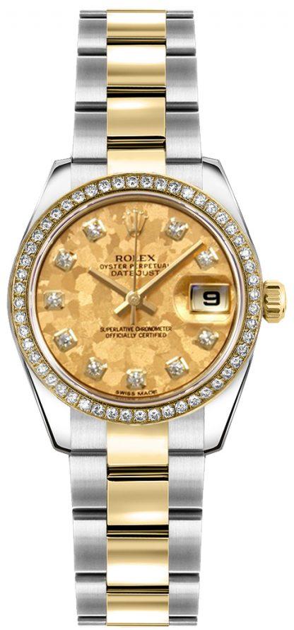replique Montre Rolex Lady-Datejust 26 diamants or et acier 179383