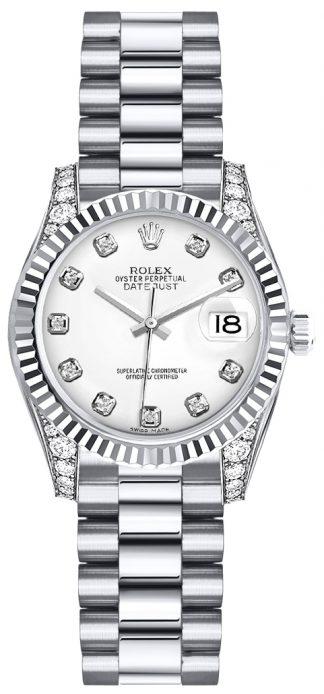 replique Montre Rolex Lady-Datejust 26 en or blanc avec diamant 179239