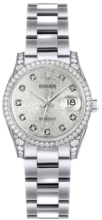 replique Montre Rolex Lady-Datejust 26 en or blanc massif 18 carats 179159