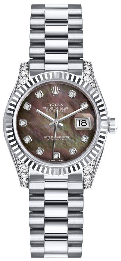 replique Montre Rolex Lady-Datejust 26 en or blanc massif 18 carats 179239