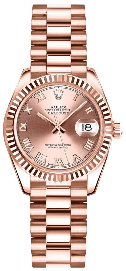 replique Montre Rolex Lady-Datejust 26 en or rose 179175