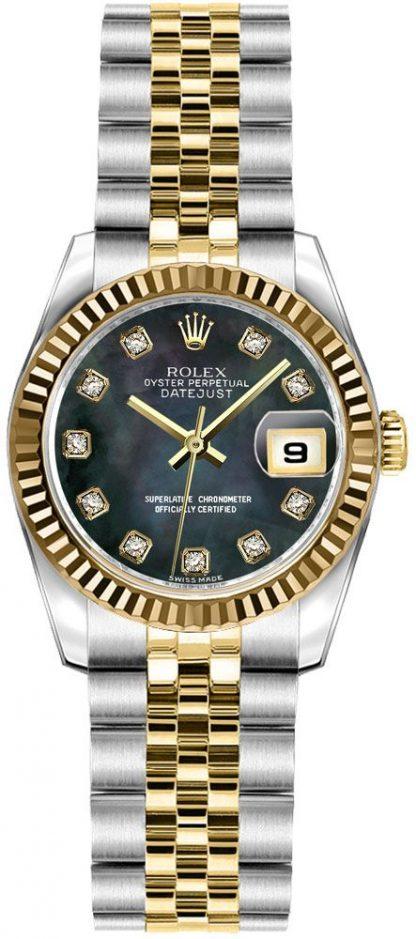 replique Montre Rolex Lady-Datejust 26 solide en or jaune 18 carats et acier 179173