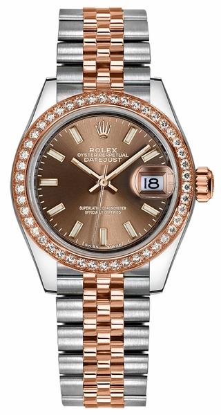 replique Montre Rolex Lady-Datejust 28 en or rose et acier inoxydable 279381RBR