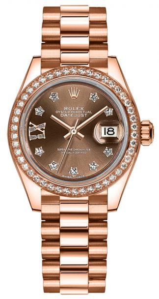 replique Montre Rolex Lady-Datejust 28 en or rose massif avec diamants 279135RBR
