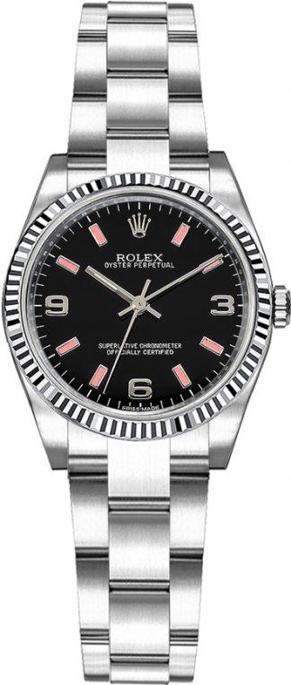 replique Montre Rolex Oyster Perpetual 26 cadran noir lunette cannelée 176234