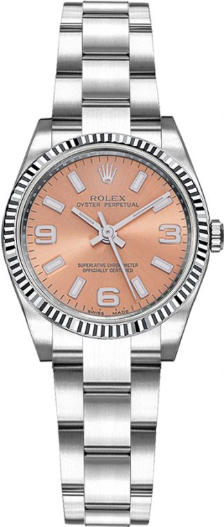 replique Montre Rolex Oyster Perpetual 26 cadran rose lunette cannelée 176234